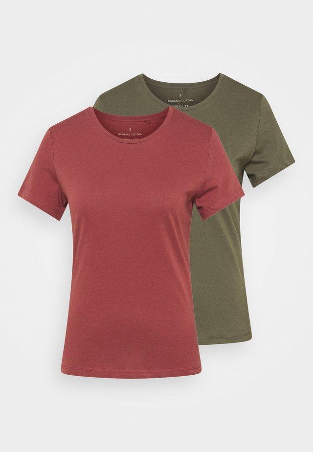 ONLPURE LIFE O NECK 2 PACK - T-shirts - grape leaf/apple butter