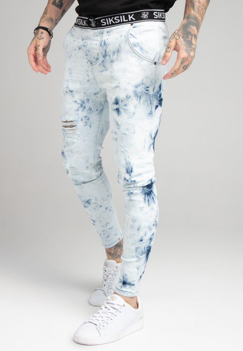SIKSILK - DISTRESSED ELASTICATED  - Jeans Skinny Fit - blue tie dye