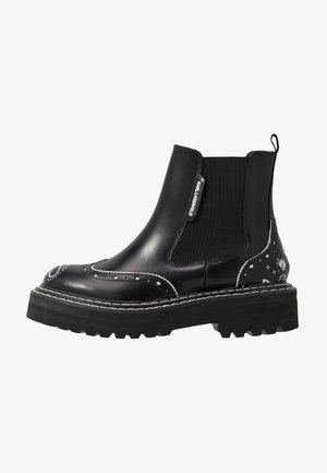 PATROL BROGUE CHELSEA BOOT - Platform ankle boots - black/white