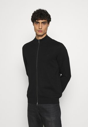 JACKET WITH ZIP - Strickjacke - black
