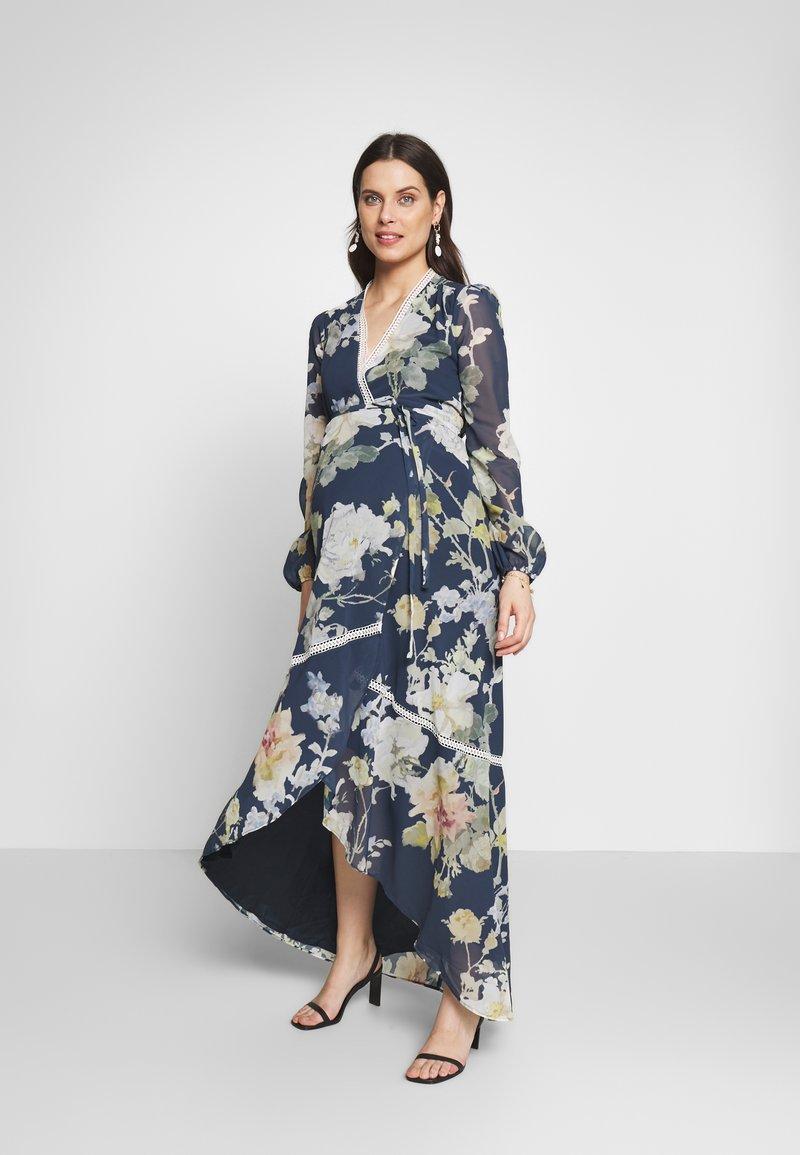 Hope & Ivy Maternity - LONG SLEEVE WRAP DRESS - Maxi šaty - navy
