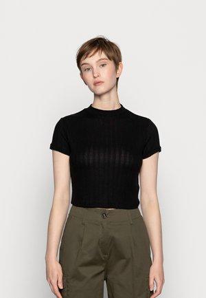 MOCK NECK TEXTURE SHORT SLEEVE - T-shirt con stampa - black