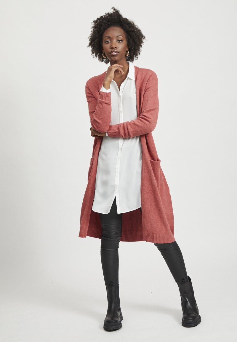 Vila - VIRIL LONG CARDIGAN  - Cardigan - dusty cedar