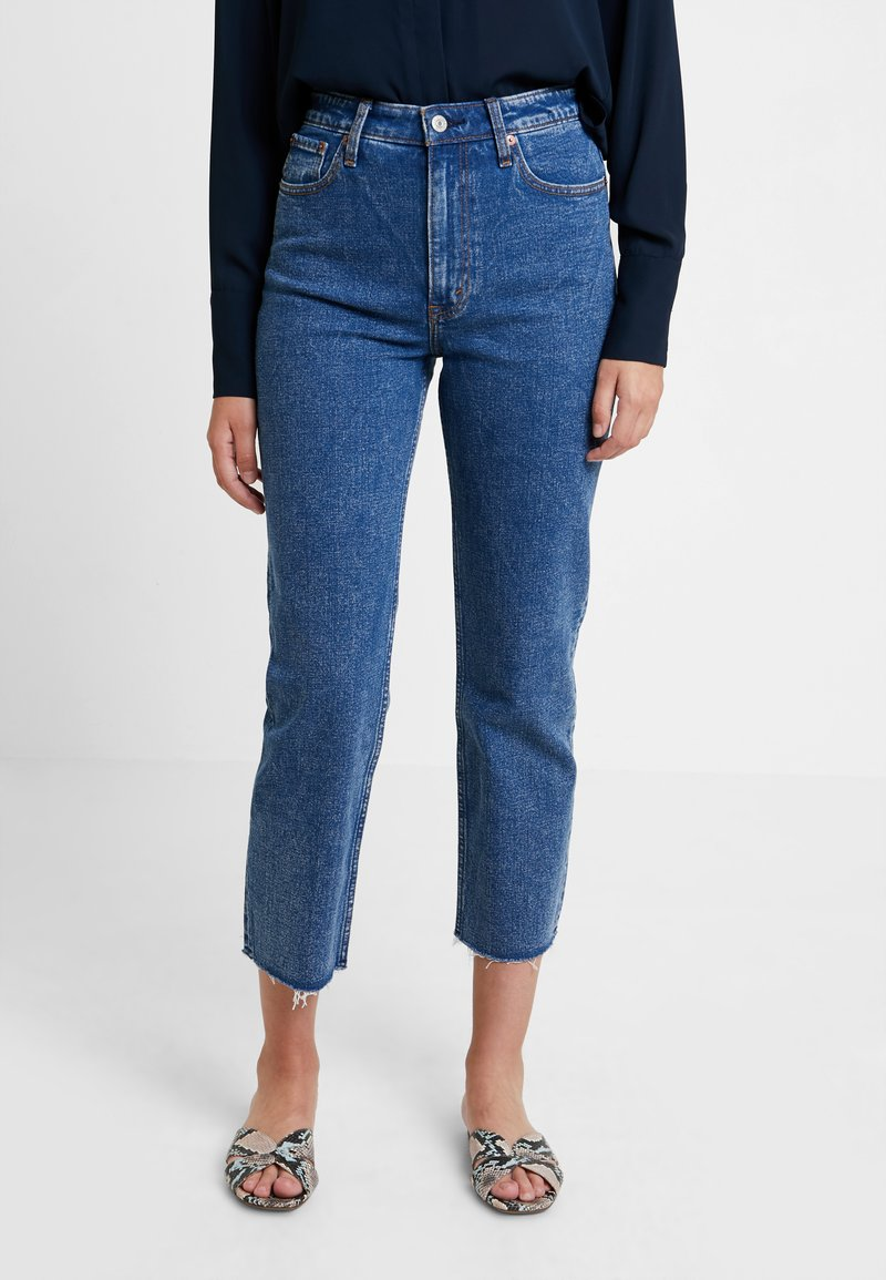 Abercrombie & Fitch - MARBLED ULTRA HIGH RISE ANKLE - Straight leg jeans - dark blue denim