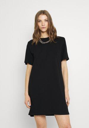 KAHLO SHOULDER PAD DRESS - Žerzejové šaty - black