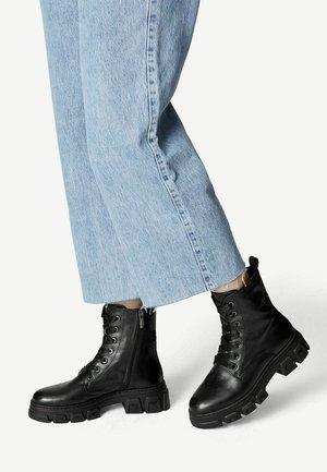 Platform ankle boots - black leather