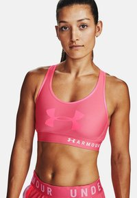 Under Armour - MID KEYHOLE GRAPHIC - High support sports bra - pink lemonade - 0