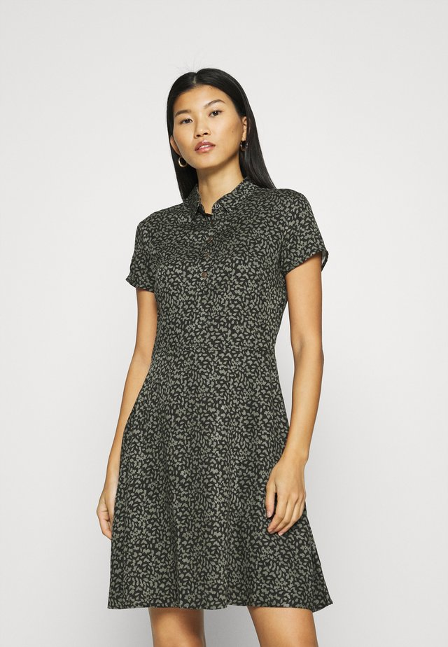 PRINTED DRESS - Shirt dress - black/green