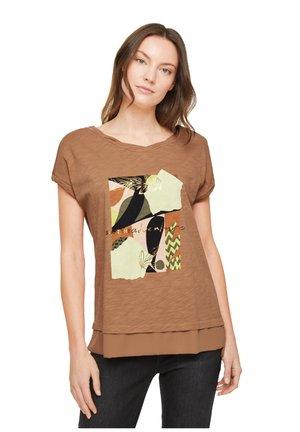 Print T-shirt - caramel placed print