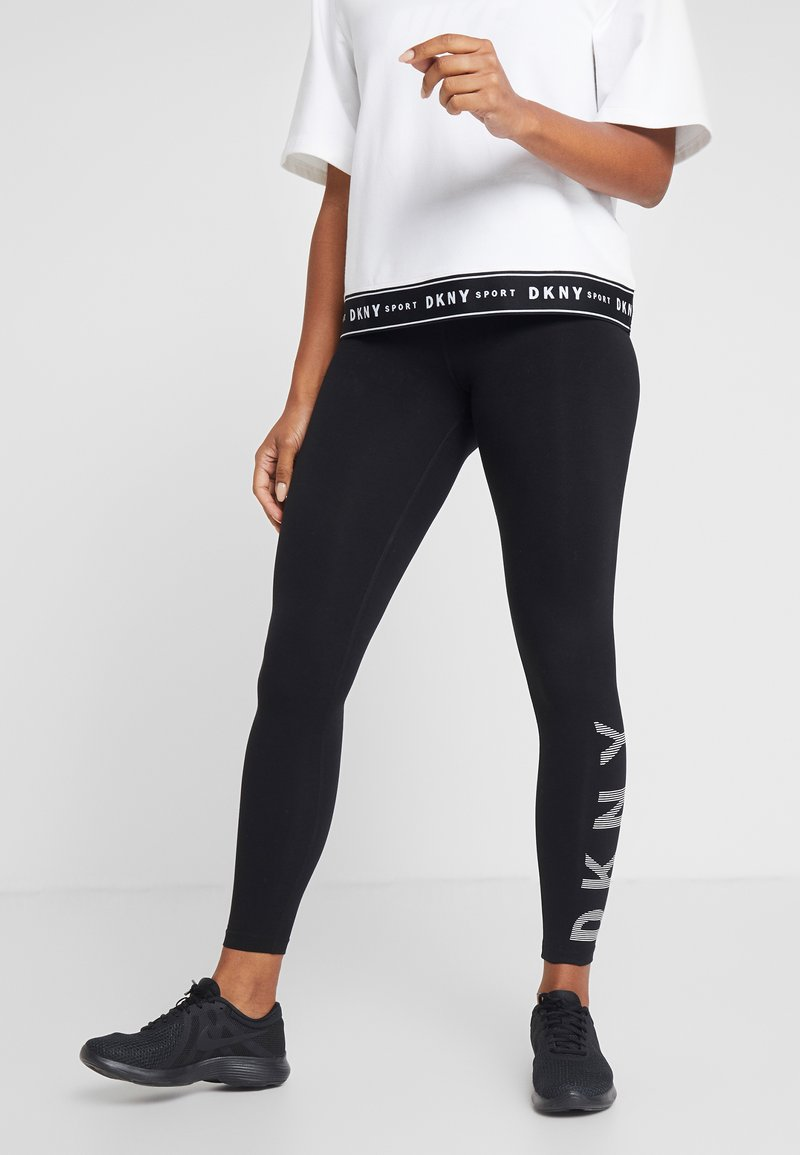 DKNY - HIGH WAIST FULL LENGTH STRIPED LOGO LEGGING - Trikoot - black/white