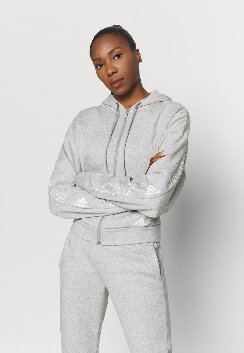 adidas Performance - Zip-up sweatshirt - mottled grey/white