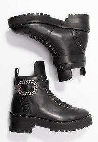 The Kooples - BUCKLE BOOT - Ankle boots - black/silver - 3