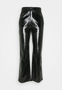 Nly by Nelly - PATENT ZIP PANTS - Trousers - black - 0