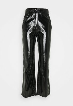 PATENT ZIP PANTS - Pantalones - black