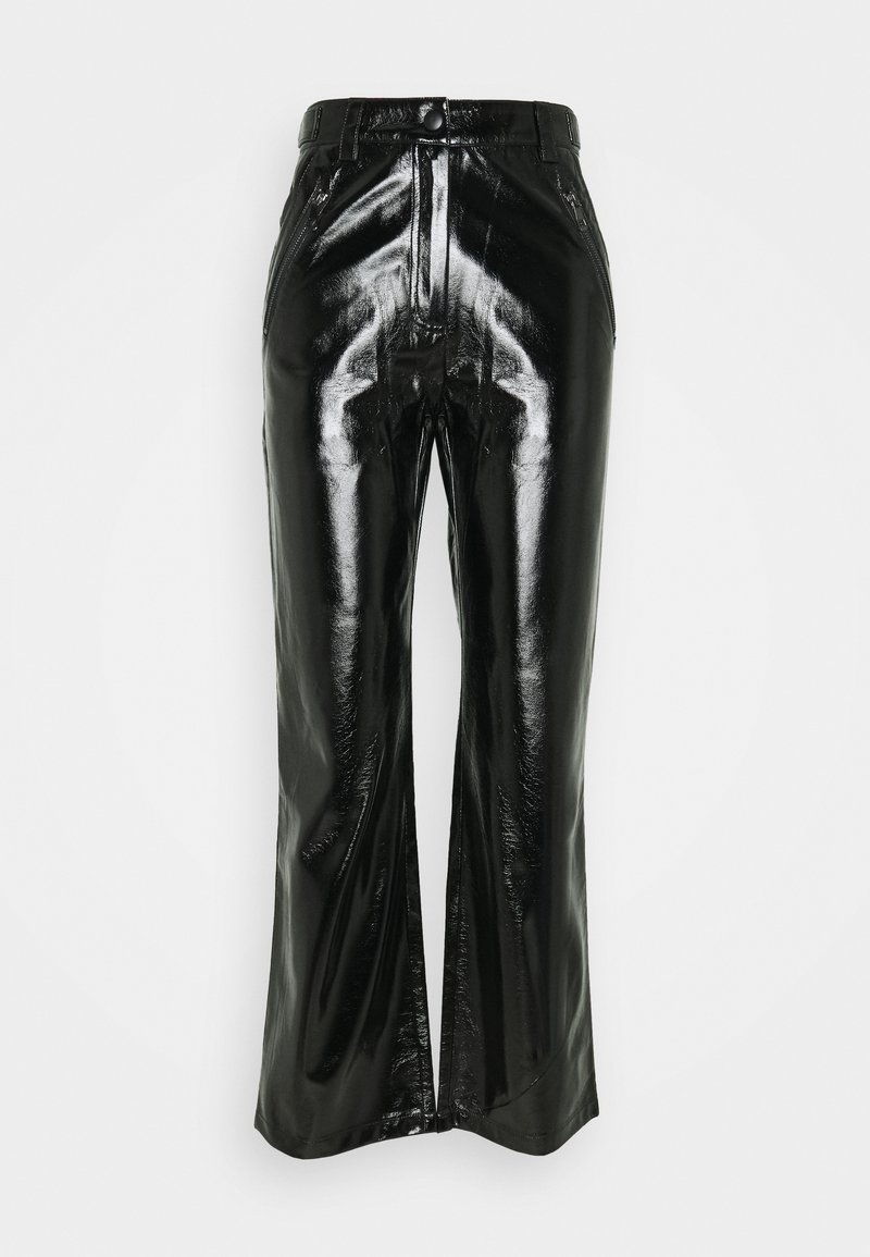 Nly by Nelly - PATENT ZIP PANTS - Trousers - black
