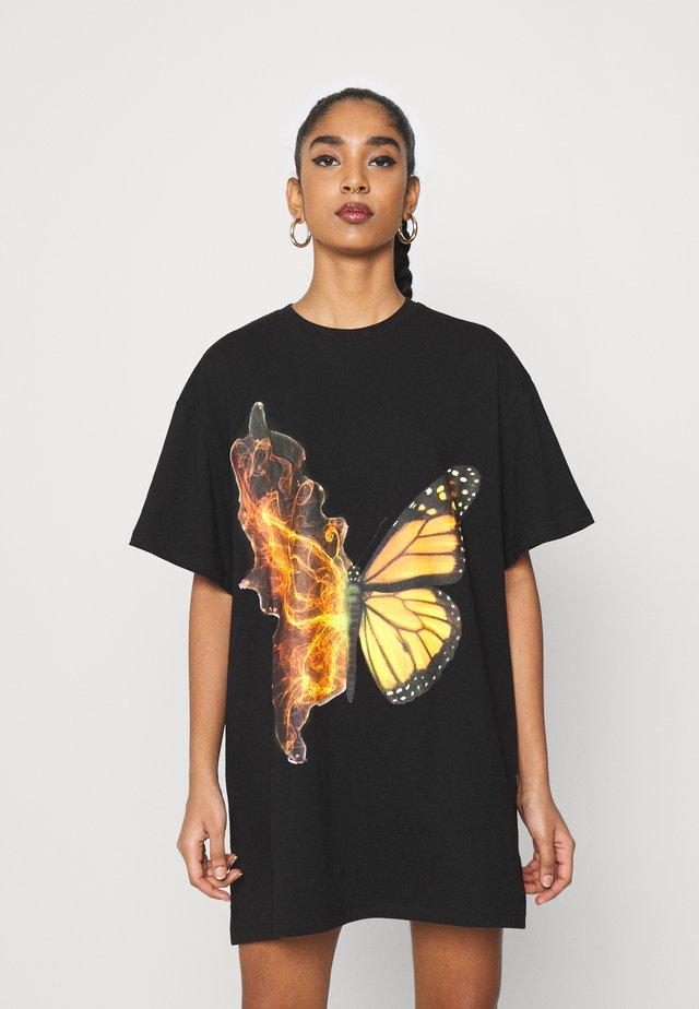 BUTTERFLY DRESS - Jerseykjoler - black