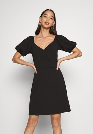 VMJASMINE WRAP SHORT DRESS - Jersey dress - black