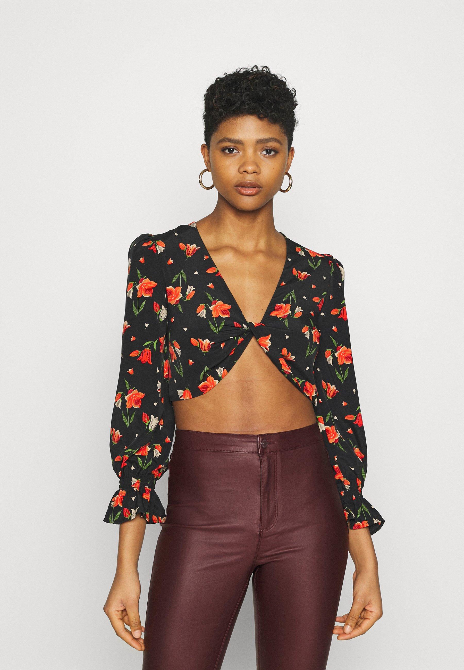 Women TULIP RUCH CROP - Long sleeved top
