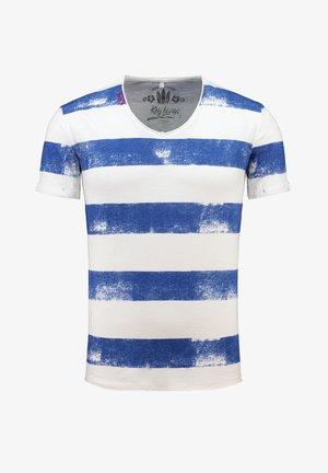Print T-shirt - offwhite/cobaltblue