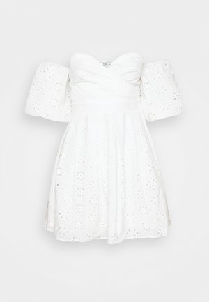 EMBROIDERED MINI DRESS - Vestido de cóctel - white