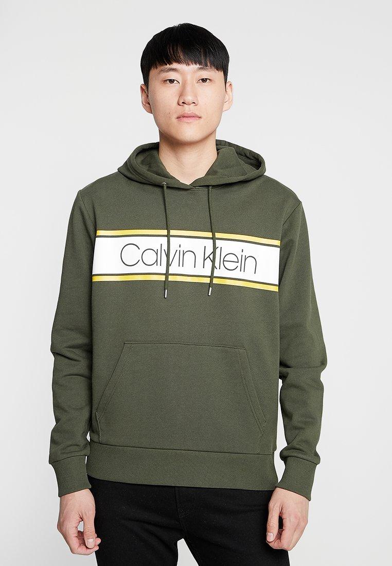 Calvin Klein - TEXT STRIPE LOGO HOODIE - Hoodie - green