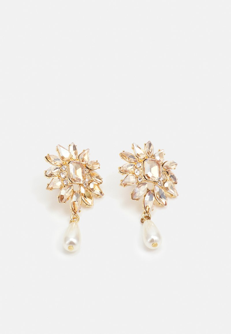 Pieces - PCLENA EARRINGS - Pendientes - gold-coloured/champagne/clear