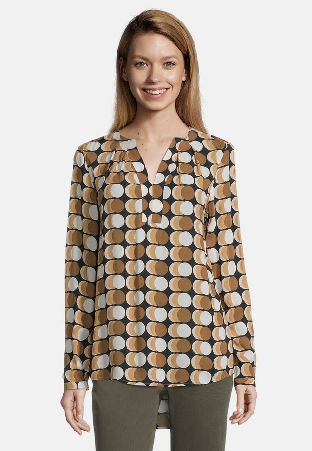 MIT MUSTER - Blouse - black/camel
