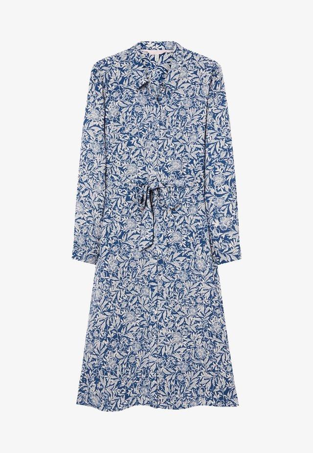 Vestido camisero - blau weiß floral