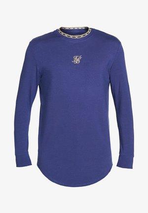 SIKSILK LONG SLEEVE TAPE COLLAR GYM TEE - Maglietta a manica lunga - navy/gold