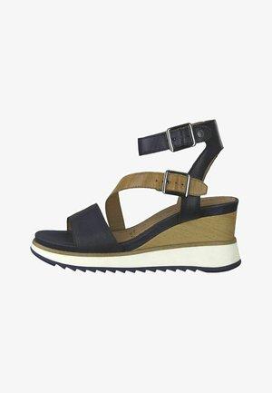 Wedge sandals - navy/nut