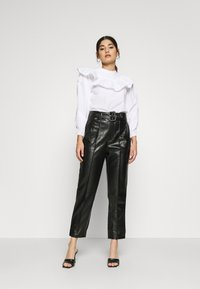 Missguided Petite - BELTED SEAM DETAIL TROUSER - Trousers - black - 1