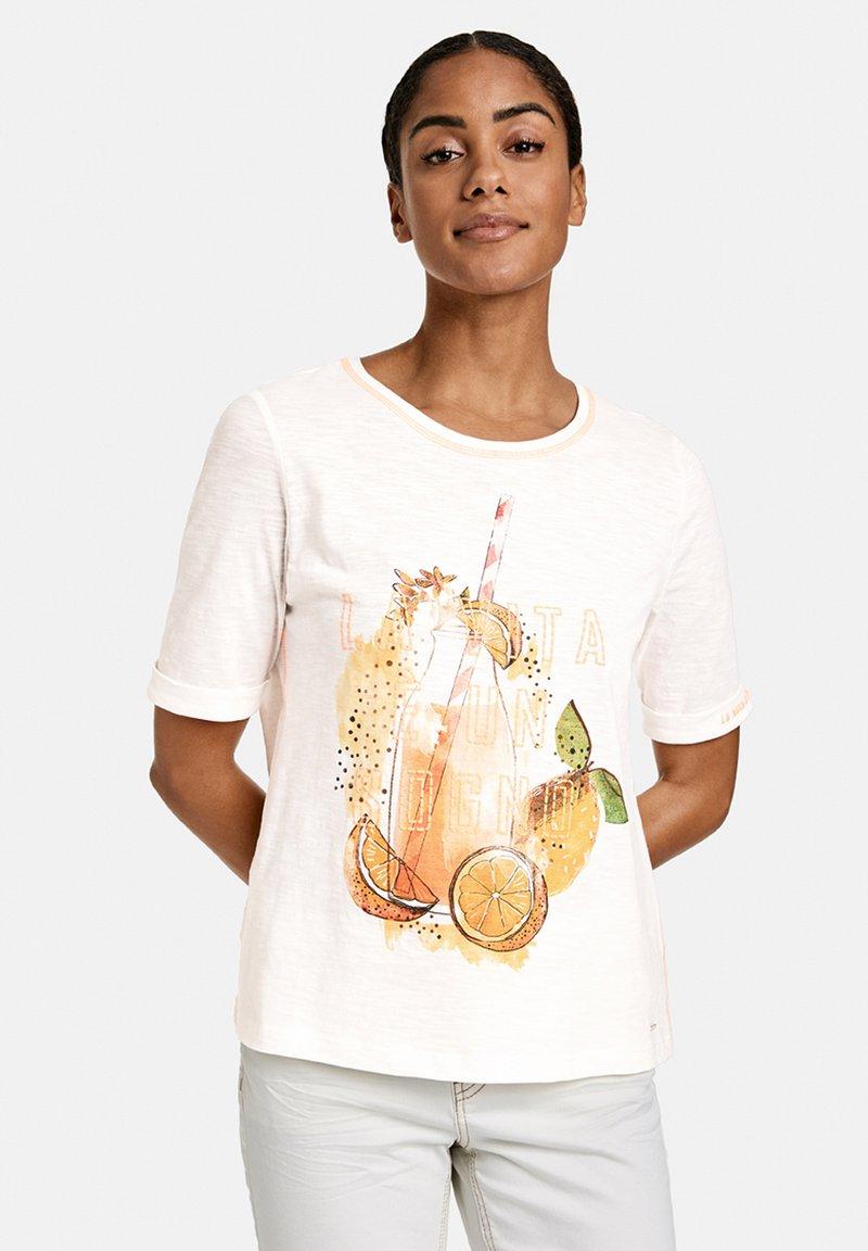 Taifun - Print T-shirt - offwhite gemustert