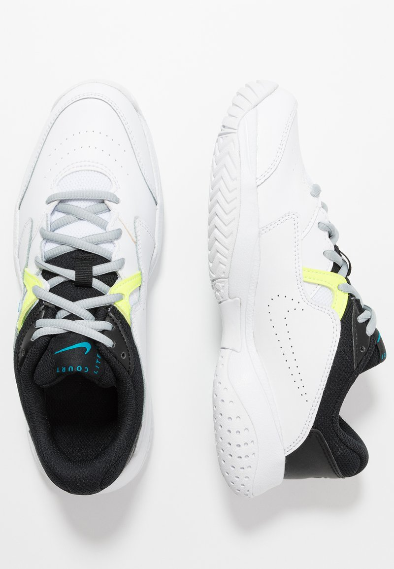 Nike Performance - COURT Jr.  LITE 2 UNISEX - Multicourt tennis shoes - white/neo turquoise/hot lime/light smoke grey