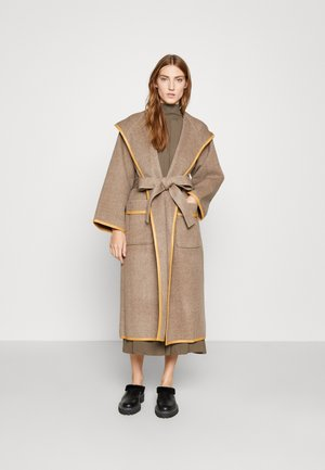 HOODED WRAP COAT - Cappotto classico - ashed mocha