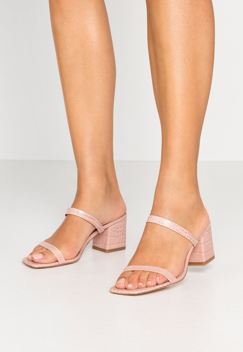 NA-KD - SQUARED STRAP  - Heeled mules - dusty pink