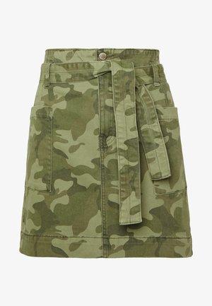 UHR CAMO TWILL TIE WAIST - Mini skirt - olive camo