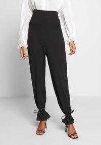 CALANDO - COMFY STRAIGHT LEG TROUSERS - Trousers - black - 0