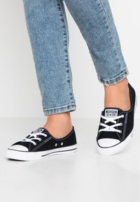 Converse - CHUCK TAYLOR ALL STAR BALLET LACE - Slip-ons - black/white - 0
