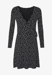 FAKE WRAP DRESS - Jersey dress - black/white