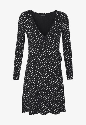 FAKE WRAP DRESS - Jerseykjole - black/white