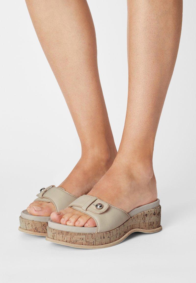 rag & bone - SOMMER - Pantofle na podpatku - oystergrey