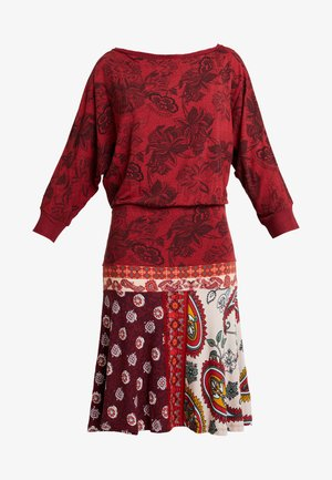 INDIRA - Jersey dress - borgona