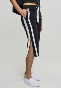 Urban Classics - LADIES TAPED TERRY CULOTTE - Tracksuit bottoms - black/white - 1
