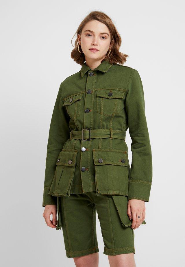BELTED SAFARI JACKET - Denim jacket - khaki green