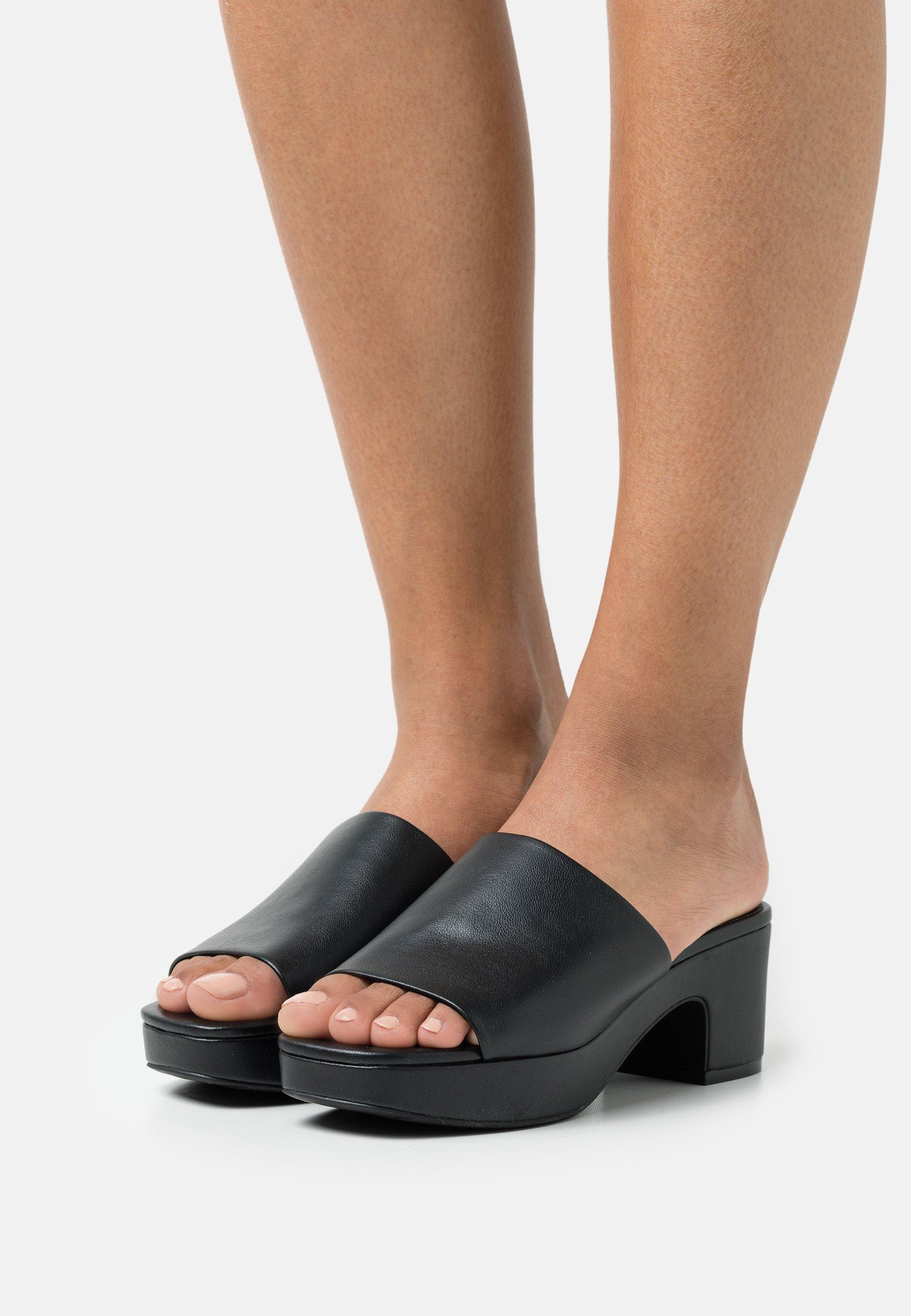Women Heeled mules - black dark