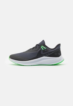 QUEST 3 SHIELD - Chaussures de running neutres - black/obsidian mist/poison green/pink blast/football grey