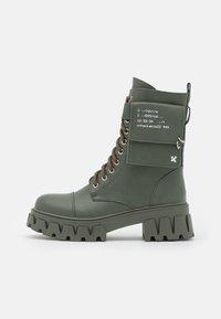 VEGAN BANSHEE - Lace-up ankle boots - khaki