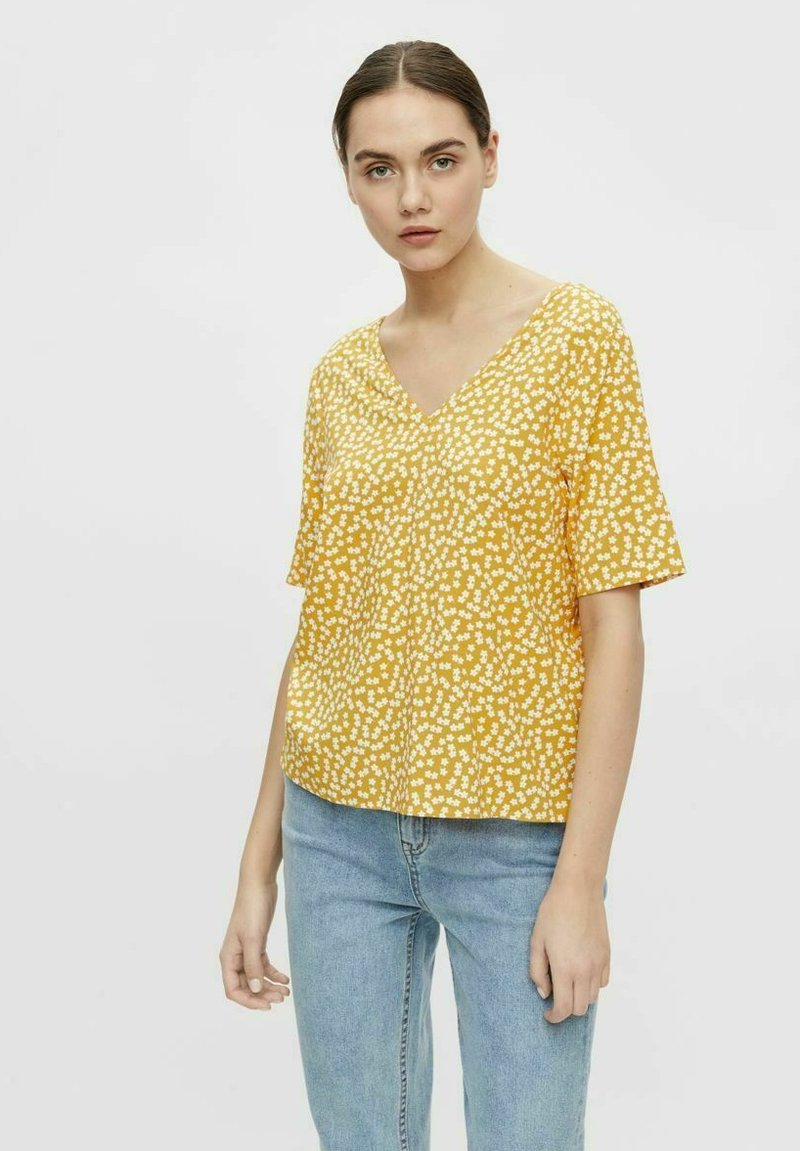 Object - MIT KURZEN ÄRMELN PRINT - T-shirt print - yellow