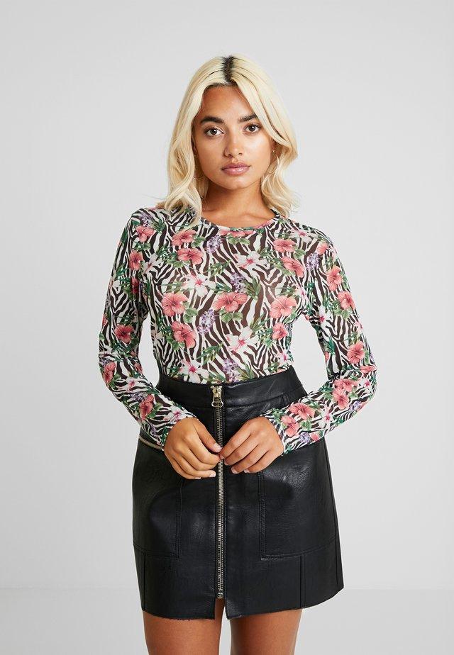 ZEBRA FLORAL PRINT BODYSUIT - Long sleeved top - black