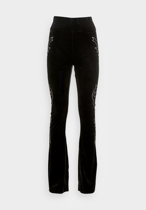 EDEN DIAMANTE STRIPE FLARE - Tracksuit bottoms - black